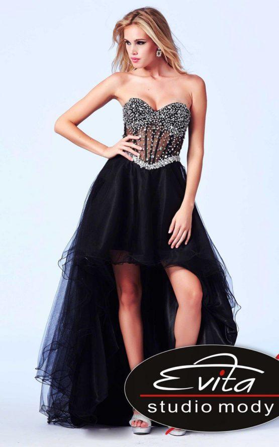 61691 asymetryczna suknia z gorsetem
