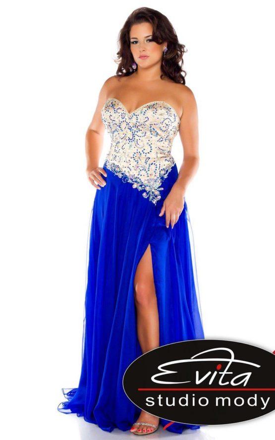 64910 intensywnie niebieska suknia wieczorowa z gorsetem