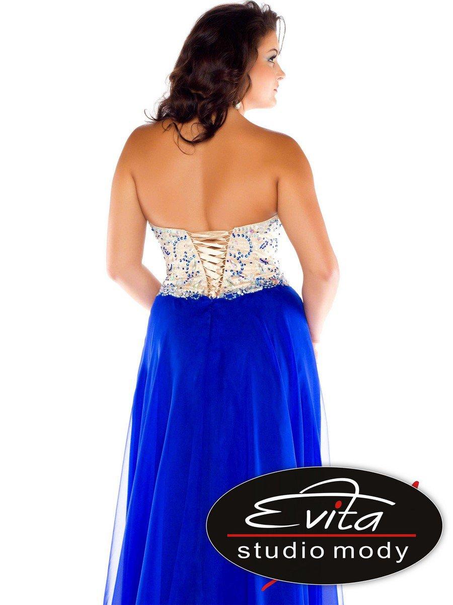 64910 intensywnie niebieska suknia wieczorowa z gorsetem - Suknie wieczorowe