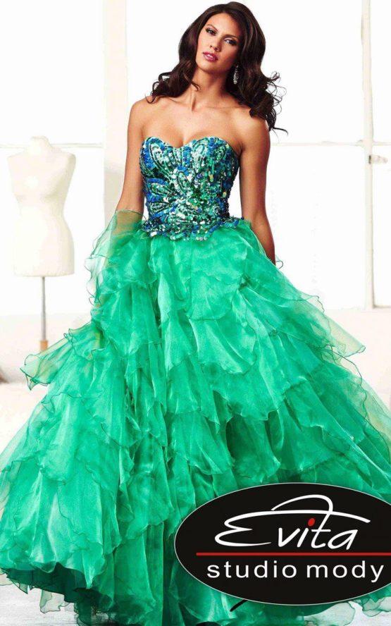 85122 szmaragdowa suknia balowa