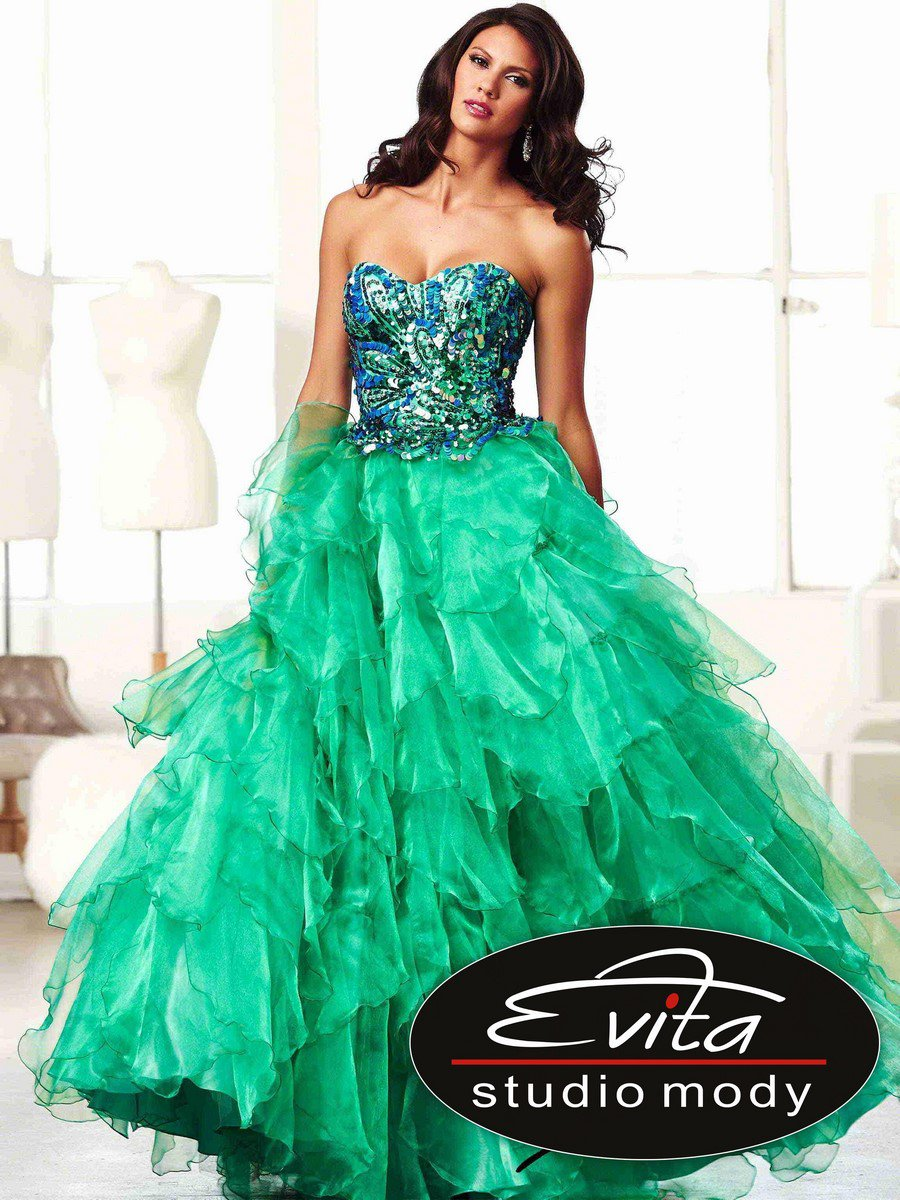 661cde3c51 85122 szmaragdowa suknia balowa - Evita