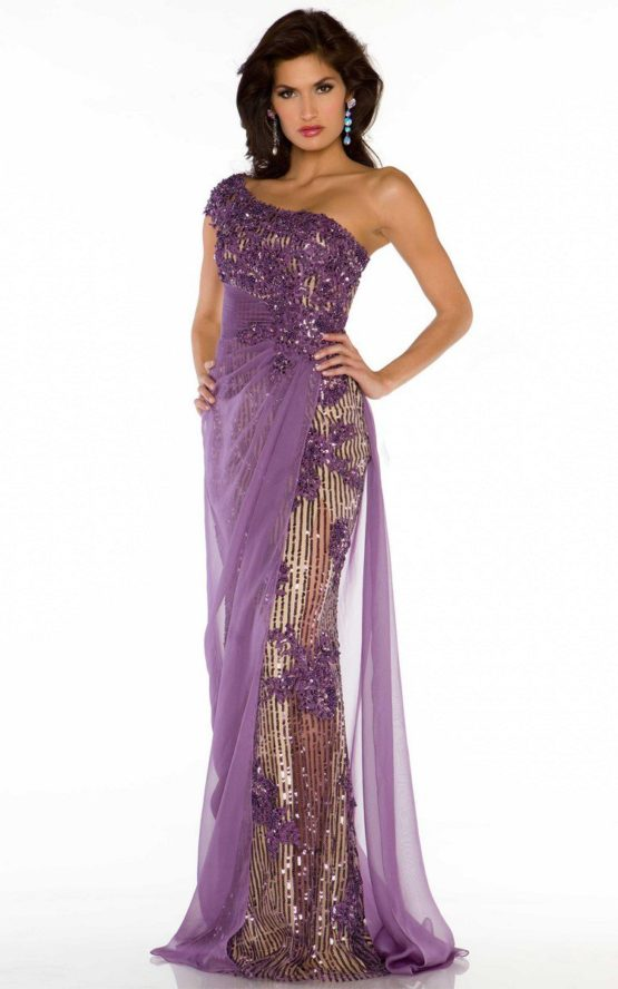85206 liliowa suknia wieczorowa