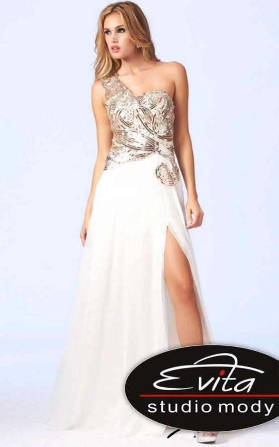85281 beżowa suknia wieczorowa