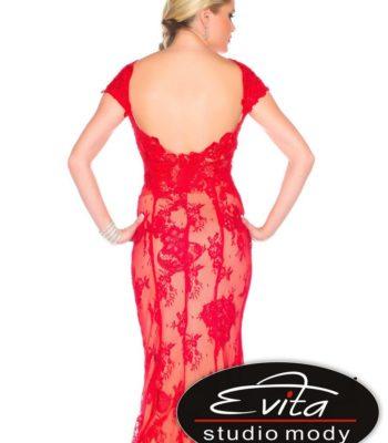85388 koronkowa, czerwona suknia wieczorowa