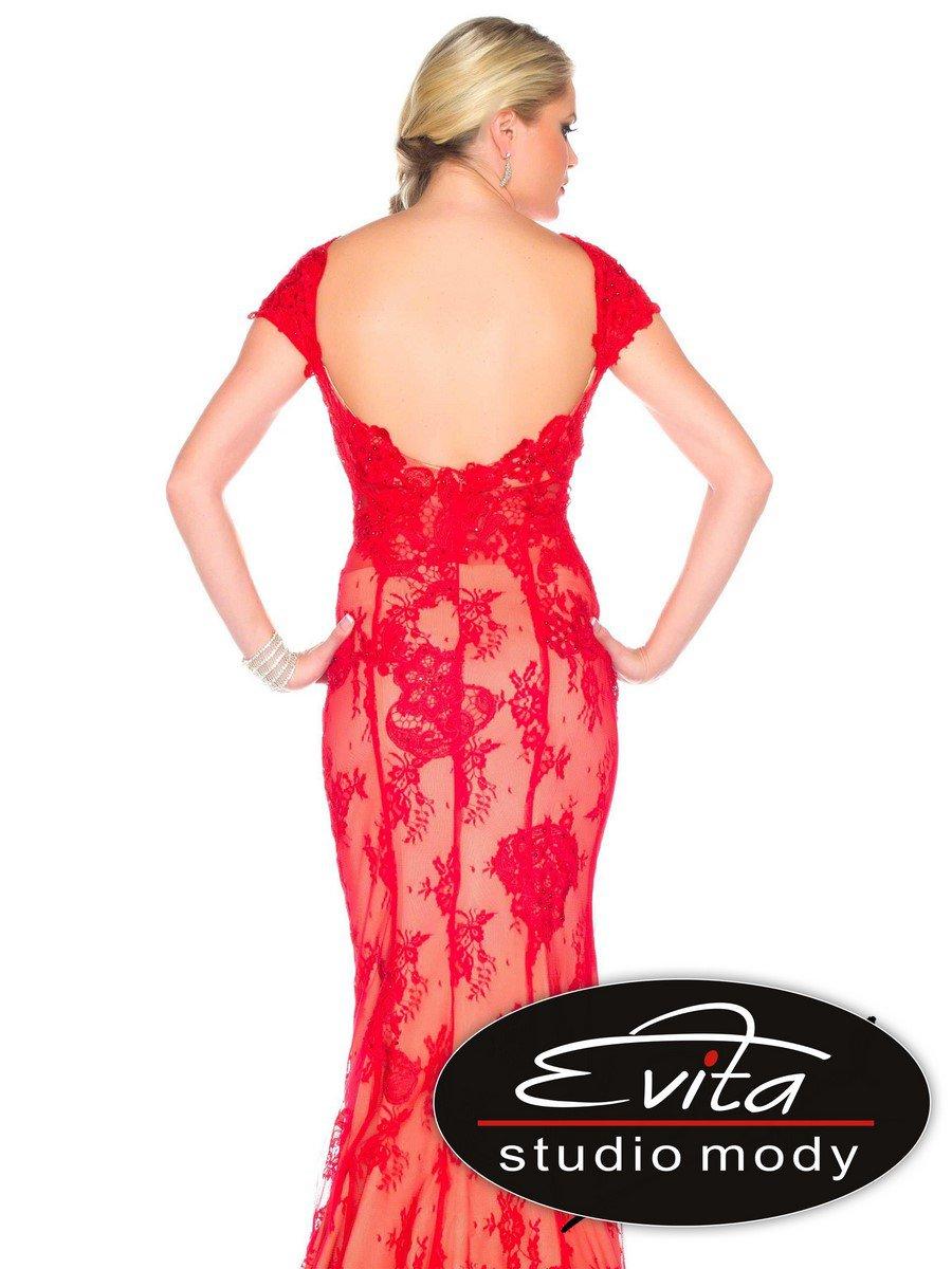 85388 koronkowa, czerwona suknia wieczorowa - Suknie wieczorowe