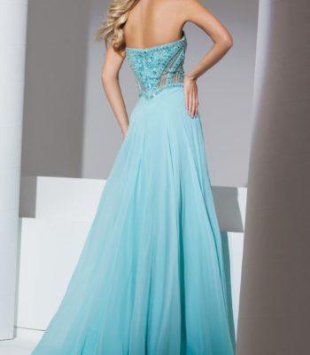 115513 brzoskwiniowa suknia wieczorowa