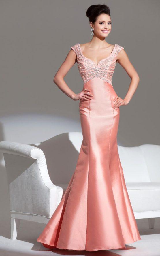 115562 koralowa suknia wieczorowa