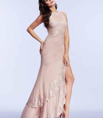 1950 suknia wieczorowa w kolorze pudrowego różu