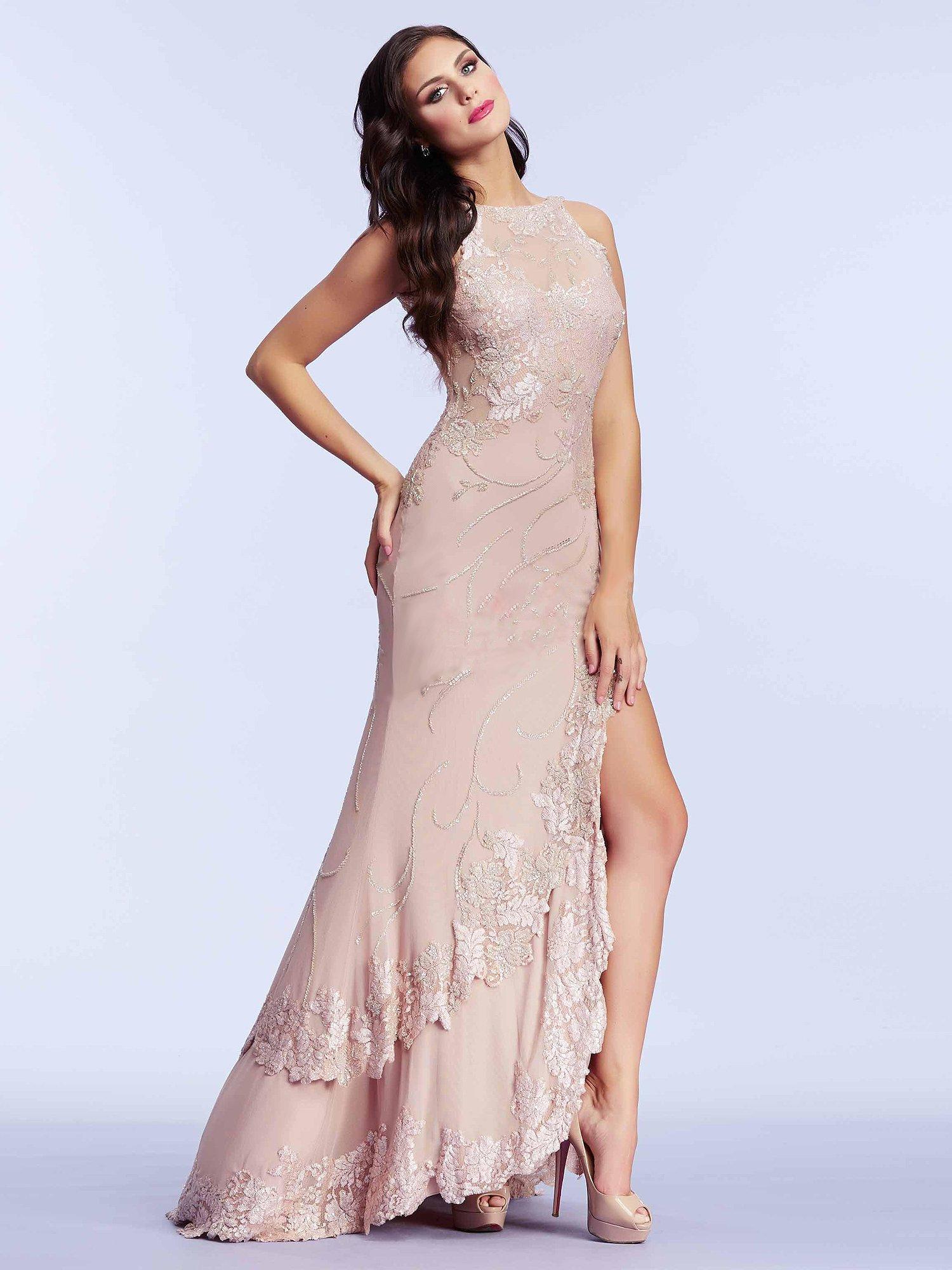 1950 suknia wieczorowa w kolorze pudrowego różu - Suknie wieczorowe