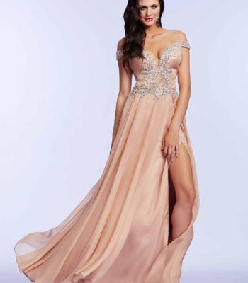64990 łososiowa suknia wieczorowa