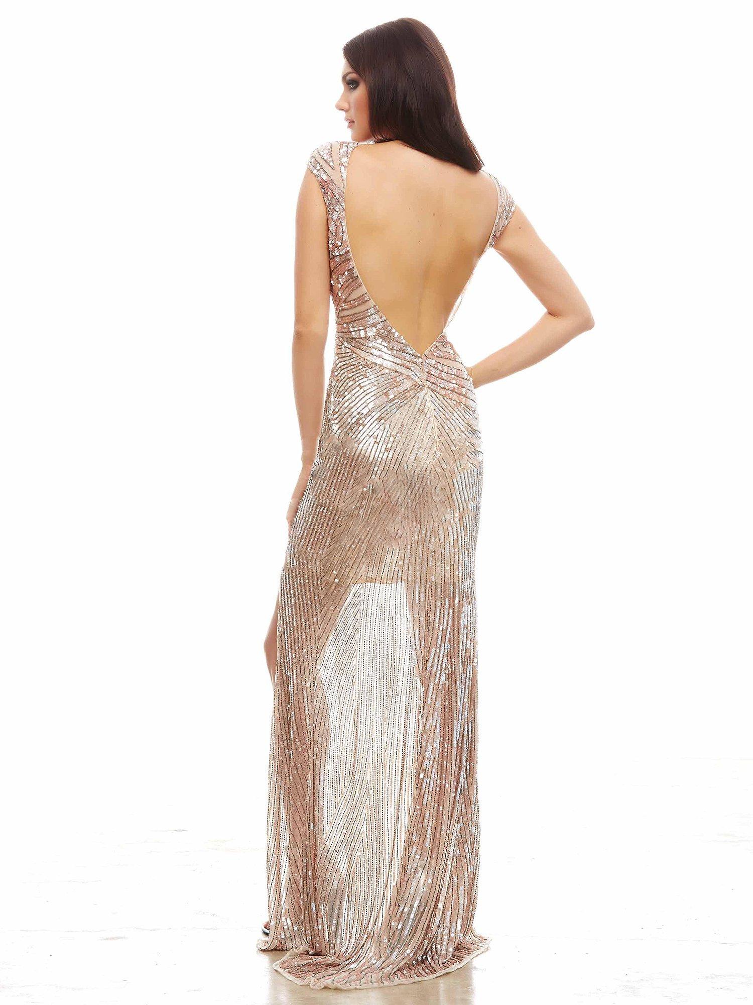 4116 cekinowa suknia wieczorowa - Szare/srebrne