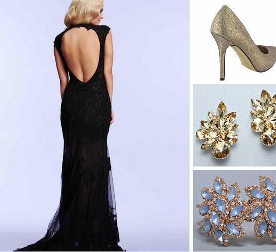 61922 koronkowa, czarna suknia wieczorowa