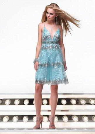 6346 krótka, błękitna sukienka