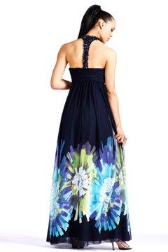 Czarna suknia z kolorowym dołem 153764(J) - kolorowe