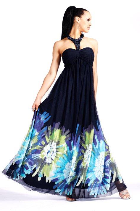 Czarna suknia z kolorowym dołem 153764(J)