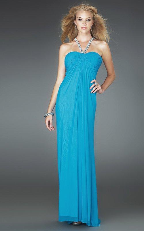 14556LF lejąca, błękitna suknia wieczorowa