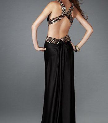 Czarna, satynowa suknia wieczorowa 13266LF