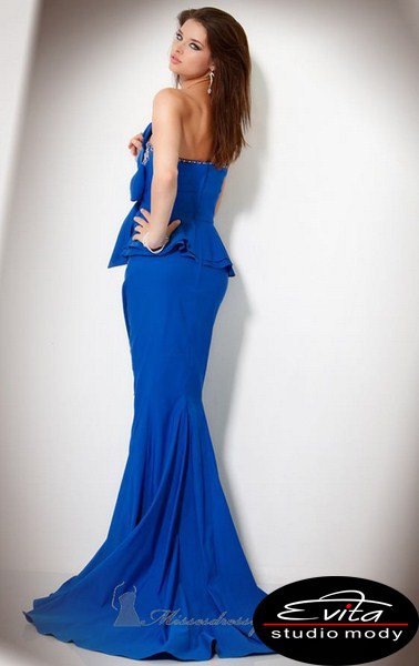 Suknia 159930(J) - niebieskie/granatowe