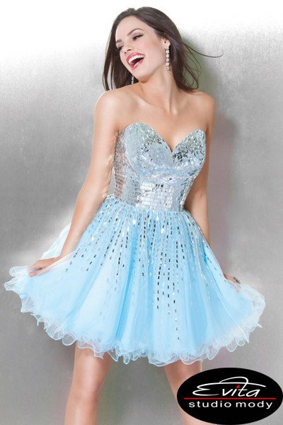 3435(J) sukienka na studniówkę - szare/srebrne