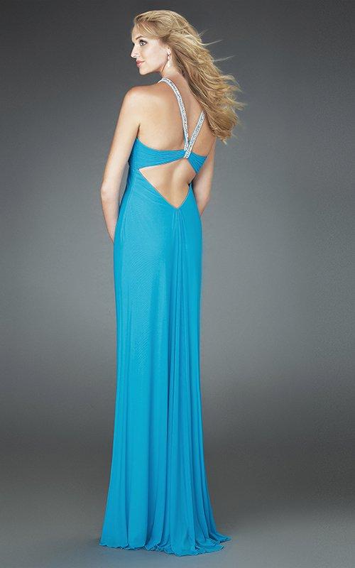 14556LF lejąca, błękitna suknia wieczorowa - Suknie wieczorowe