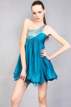 14125(J) krótka, niebieska sukienka koktajlowa