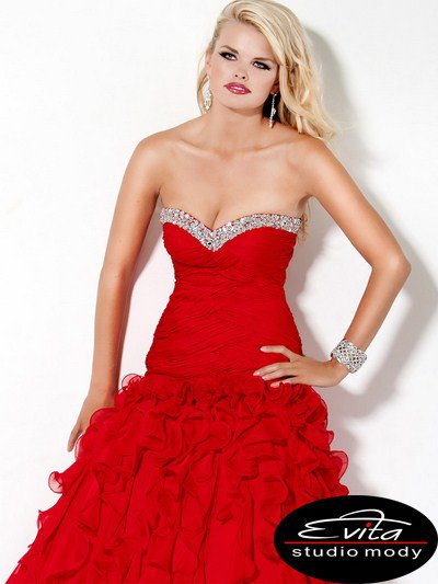 3060(J) sukienka balowa - czerwone