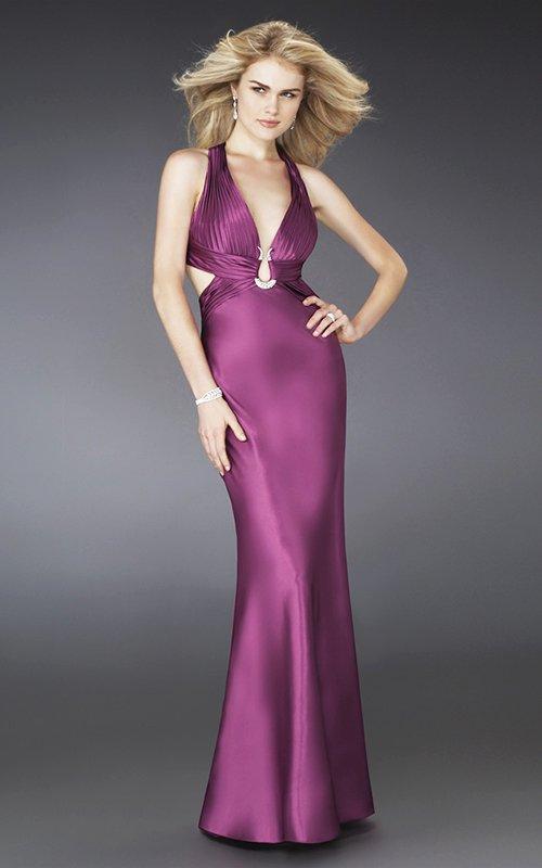 14244LF granatowa, połyskująca suknia wieczorowa - Suknie wieczorowe