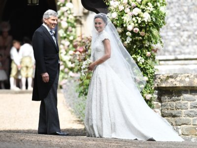 ENGLEFIELD GREEN, ENGLAND - MAY 20:  Pippa Middleton and her father Michael Middleton arrive at the wedding of Pippa Middleton and James Matthews at St Mark's Church on May 20, 2017 in Englefield Green, England.  (Photo by Samir Hussein/Samir Hussein/WireImage)