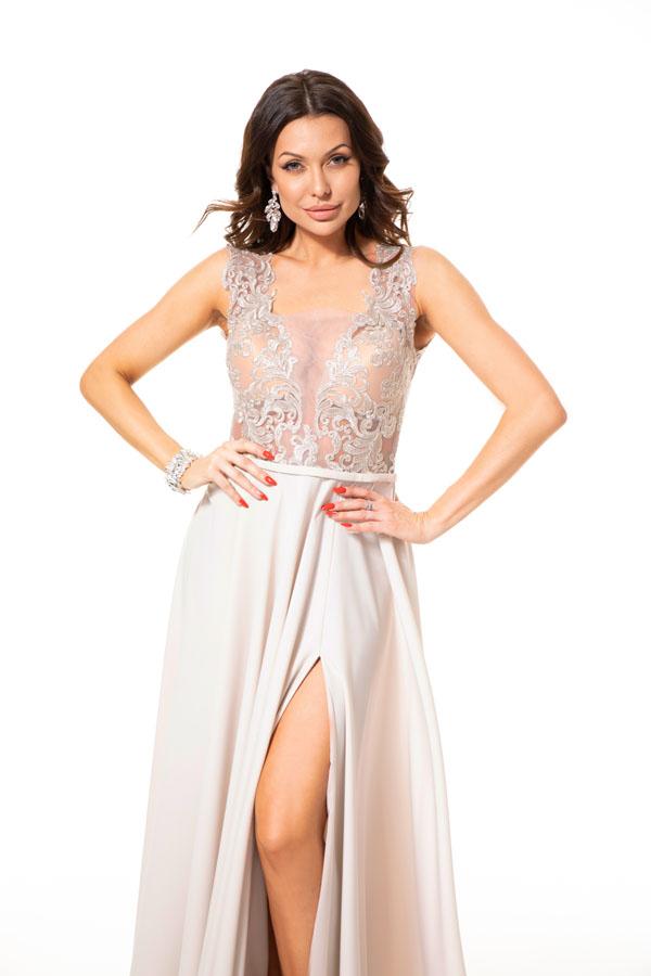 Suknia wieczorowa SABINA - Białe/beżowe