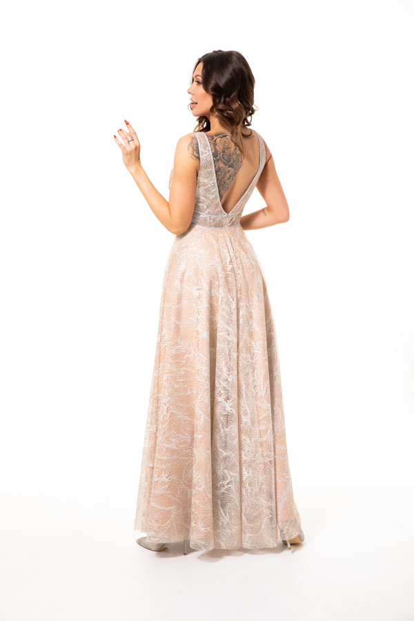 Suknia wieczorowa TINTUR - Białe/beżowe