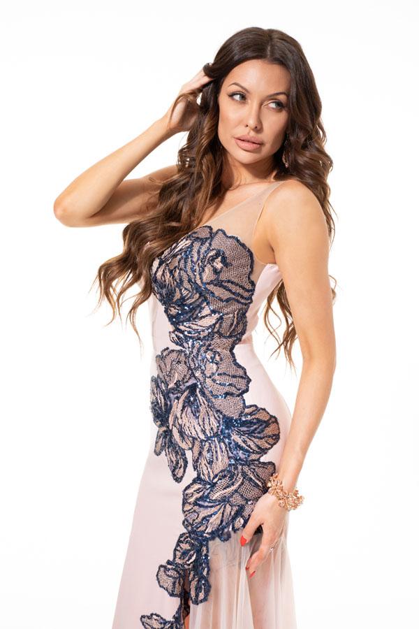 Suknia wieczorowa WALERIA - Różowe/fioletowe